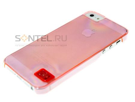 Накладка HOCO для iPhone 5 Crystal colorful розовая