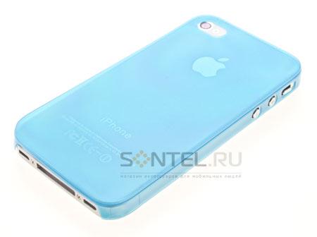 Задняя накладка Jack Case Ultra Thin 0,35 mm для iPhone 4, (Soft Touch) голубая